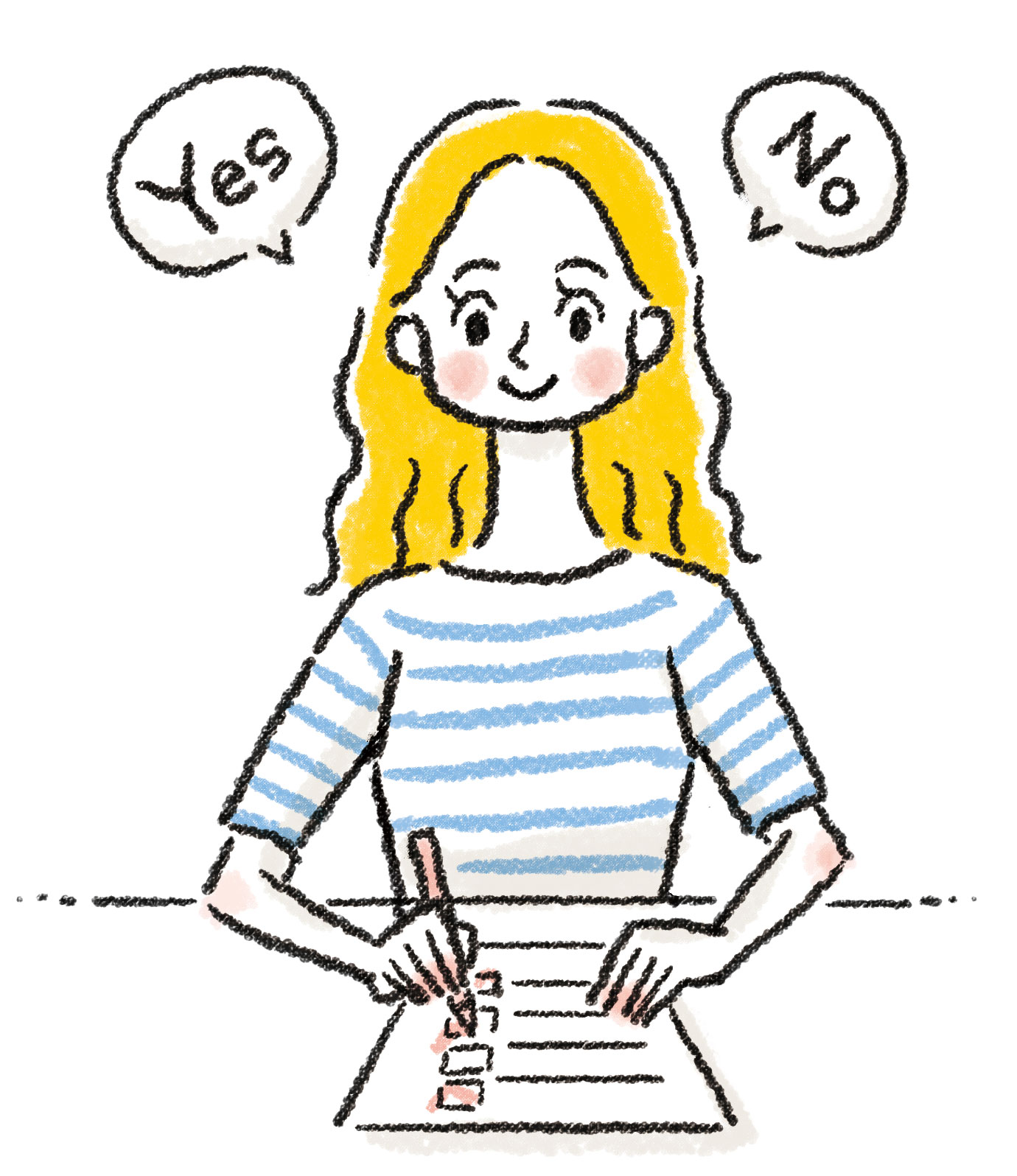 YES or NOの疑問点を用紙に書き出す女性のイラスト・カット